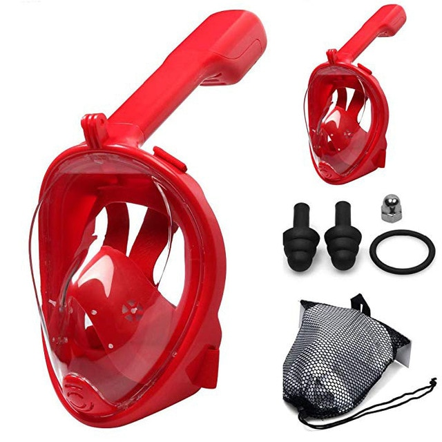 Anti-Fog Snorkeling Full Face Respiratory Mask (Red Colour. L/XL Size -eye to chin 13.5cm or more) *Note: does not ship to South America continents