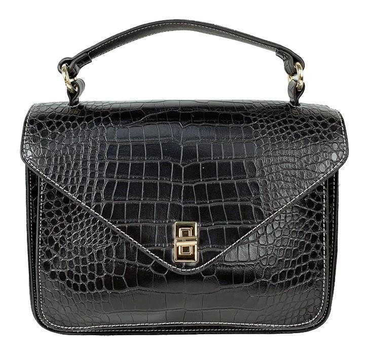 Stone Pattern Genuine Cowhide Leather Messenger Handbag