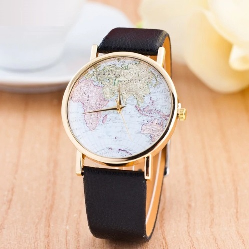 Women's World Map Leather Wrist Watch
