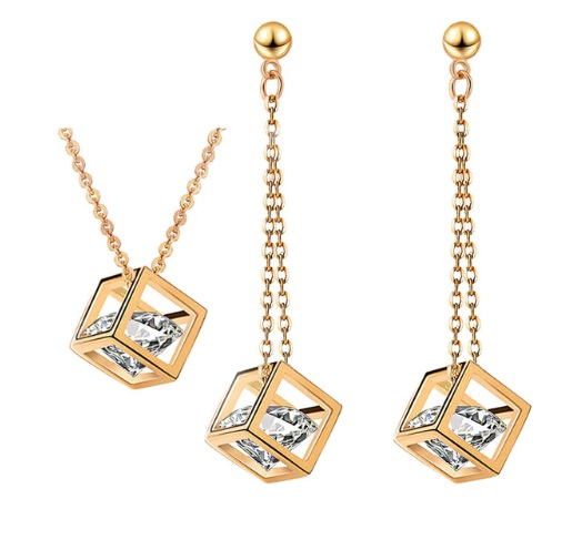 Women's Cubic Zircon Jewelry Set (Necklace and Long Earring)