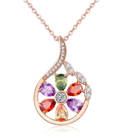 Flower Zircon Pendant Necklace