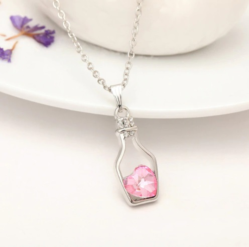 Love Pendant Wishing Bottle Necklace
