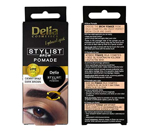 Delia Eyebrow Expert Stylist Brow Pomade Perfect Color & Shape Easy to use (Dark Brown)