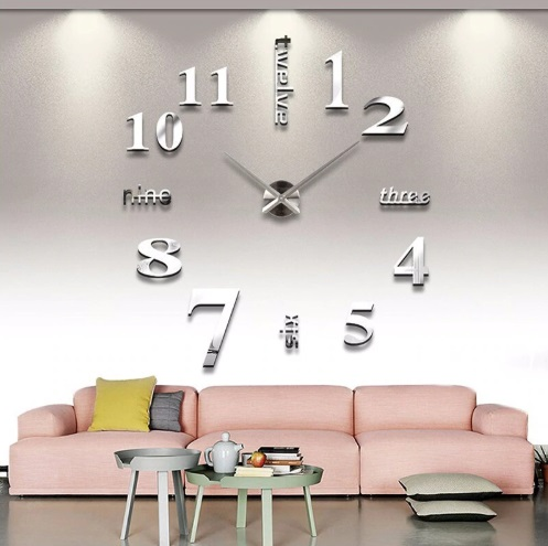 Quartz 3D Mirror Wall Clock Sticker