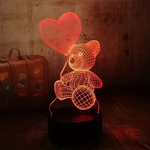 Teddy Bear with Love Heart Balloon 3D LED Night Light (Switch 3 Colors. Red, Blue, Purple)
