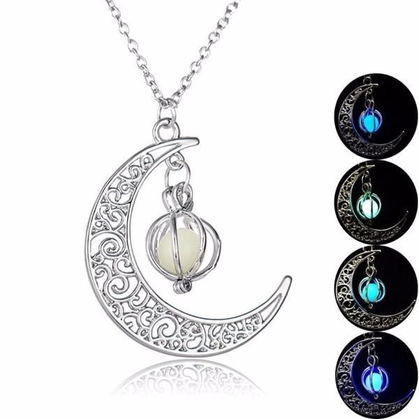 2017 fashion Glow In the dark Necklace Moon shape Hollow with ball Luminous Pumpkin Pendant Necklace Valentine Halloween 20